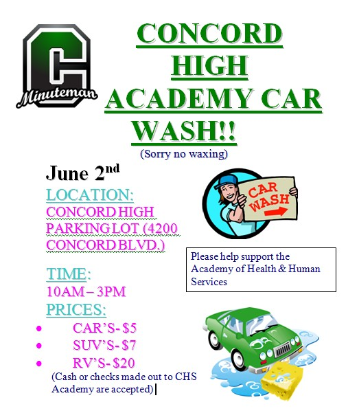 Coming Up Car Wash Fundraiser At Concord High School On June 2nd