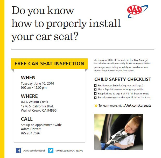 coming up aaa offers free car seat inspection on june 10th in walnut creek claycord. Black Bedroom Furniture Sets. Home Design Ideas