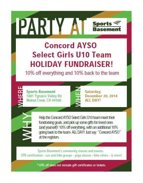 fundraiser at sports basement in walnut creek for concord ayso girls
