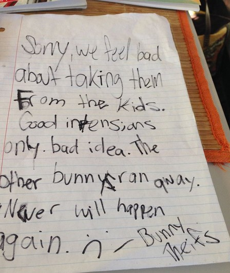 Bunny Thieves Write Letter of Apology School Celebrates the Return