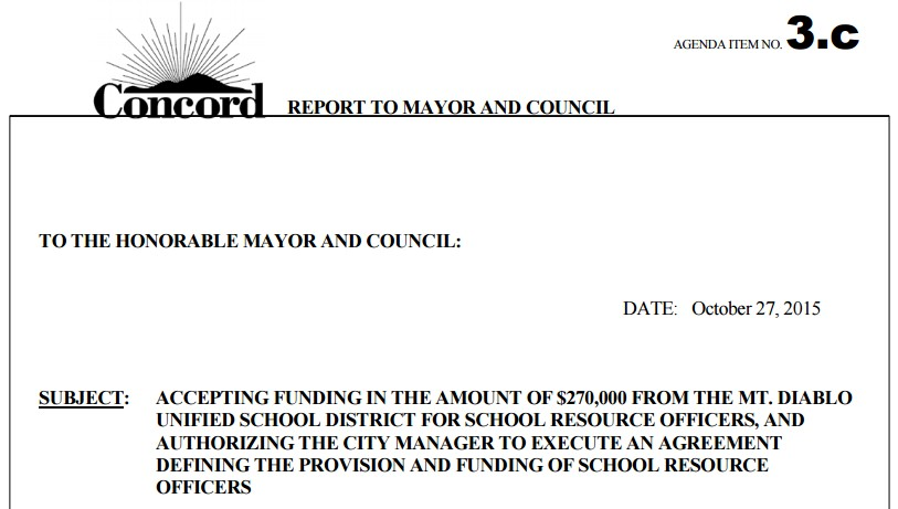 City Of Concord Mdusd To Pay Half Of 540k For Three Campus Cops
