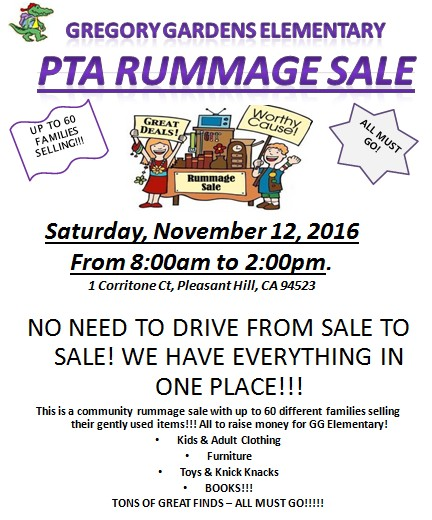 Gregory gardens elementary to hold rummage sale on claycord for Gregory gardens elementary school
