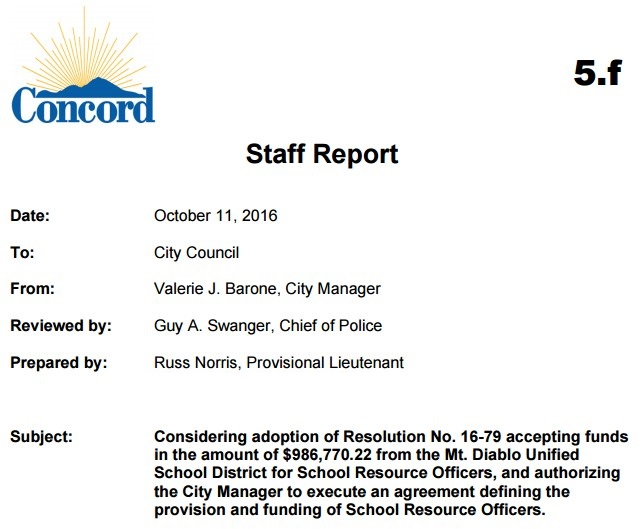 Mdusd To Pay City Of Concord 98677022 For Three School Resource