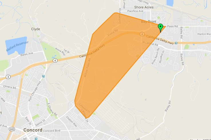UPDATE Over 1600 Without Power in Concord Bay Point MAP