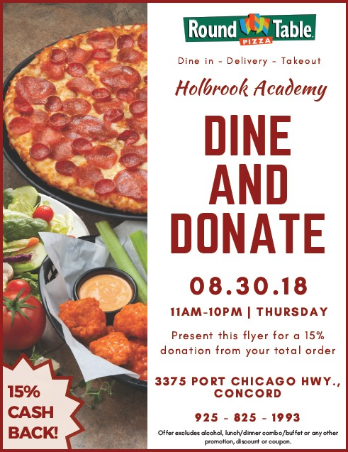 Fundraiser At Round Table Pizza On Port Chicago Hwy. To Benefit Holbrook  Elementary School